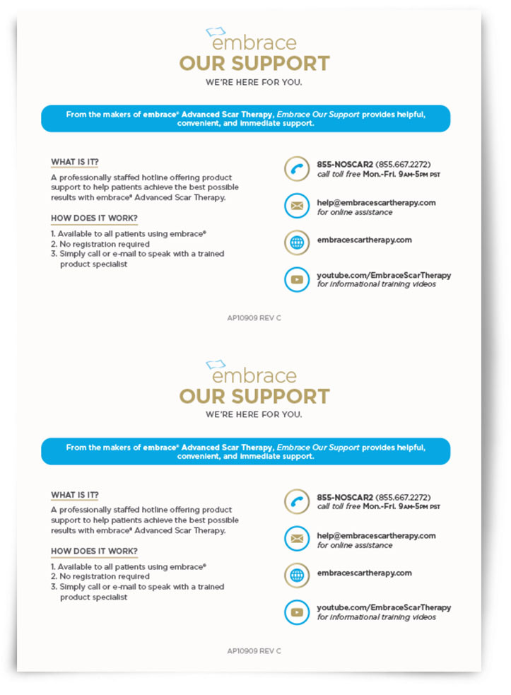 embrace scar therapy. embrace our support sheet scar therapy s